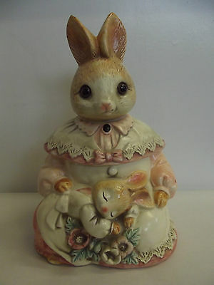 Vintage Mother Rabbit with Baby Cookie Jar Glass Eyes.............28Q