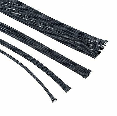 Black Braided Cable Sleeving - Expandable, Wire Harness, Marine, Auto, Sheathing
