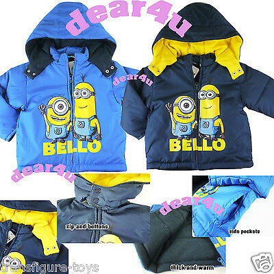 Despicable Me Minion Boys kids winter coat thick jacket hoodie outfit size 2-8