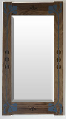 Mission Style Bungalow Walnut Arts & Crafts Large Hand Painted Lily Mirror