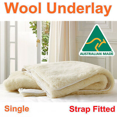 Aus Made Single Size Luxury 100% Pure Wool Underlay/Underblanket/Mattress Topper