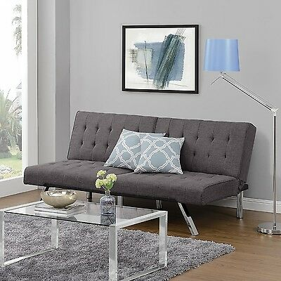 Modern Convertible Futon Sleeper Sofa Couch Foam Fill Chromed Metal Gray Linen