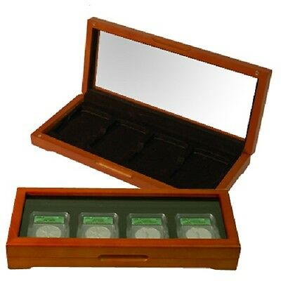 Certified Graded Coin Slabs Oak Display Box Case Glass PCGS NGC ANACS FREE USA