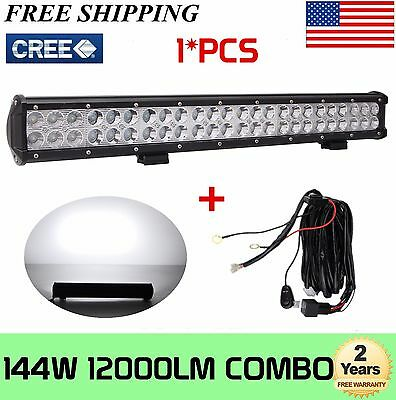 144W 23in CREE LED Work COMBO Light Bar 12V 24V Offroad Fog 4X4 Lamp FREE WIRING