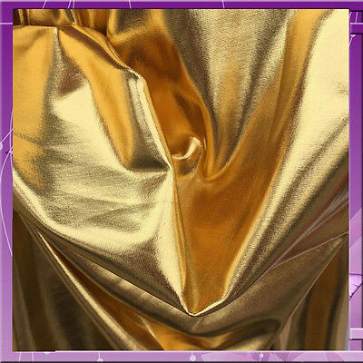 "4 way stretch metalic Gold pleather w nude backing 60""w Fabric by the yard"