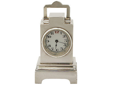 Sterling Silver Boudoir Alarm Clock - Art Deco Style - Antique George V