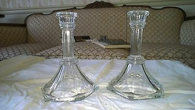 "Pair of Clear Glass CANDLESTICK HOLDERS set of 2, 6"" tall, candle base"