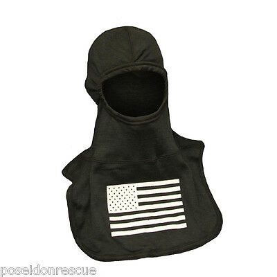 NFPA PAC II Black Ultra C6 Flash Hood with GLOW in the Dark Blue Fire Ink - NEW