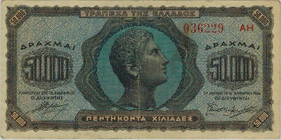 1944 Greece 50,000 Drachma Note, F-VF