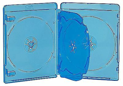 Pack 6 ESTUCHES / CAJAS CUADRUPLES - 4 BLURAY - 14 mm - AZUL TRANSPARENTE