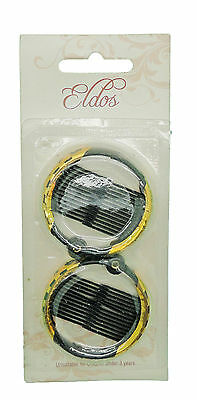 Black Ring Comb Hair Clip Small Size 2pc