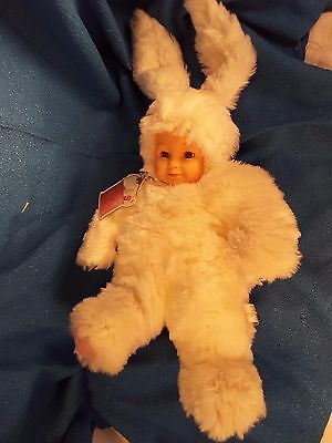 "Anne Geddes Bunny Baby Doll Plastic Face Plush Body 14"" Rabbit Easter Collectors"