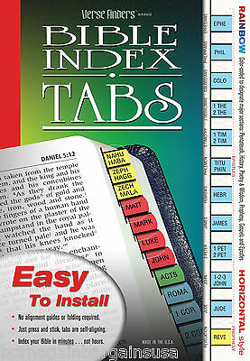 Rainbow Bible Index Tabs Book Labels - LONG LASTING Full Set - EASY to Install!