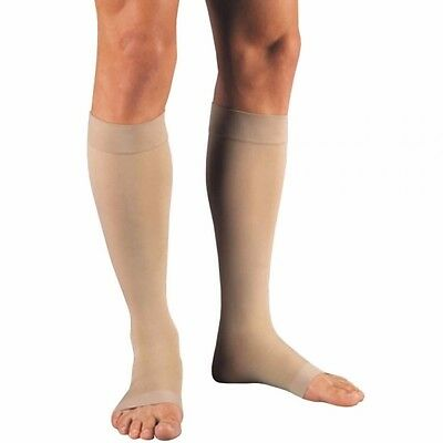 (2 Pair) New Compression OPEN TOE Socks Travel Calf Pain Support Unisex (S~XXL)