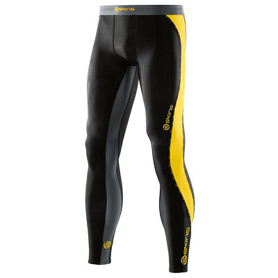 Skins NEW Mx DNAmic Black Yellow Pants Motocross Mens Long Compression Tights