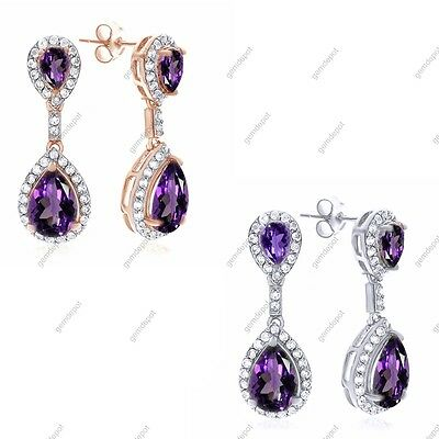 925 Sterling Silver 4.75 Carat Amethyst and White Topaz Earrings