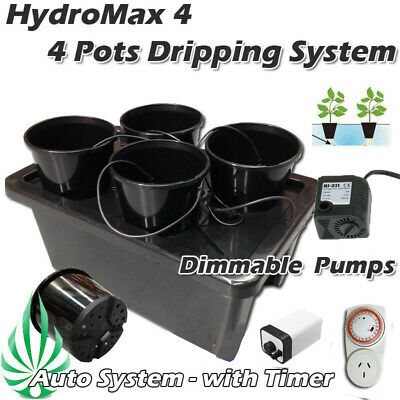 Hydroponic 4 Pots 50L Bubble Water Dripping Grow System Timer Water Air Pumps