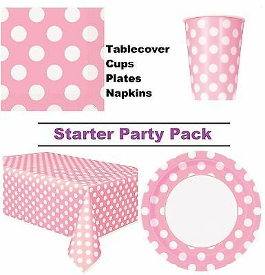 Pale Pink Polka Dot 8-48 Guest Starter Party Pack | Cups | Plates | Napkins