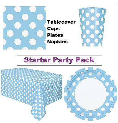 Powder Blue Polka Dot 8-48 Guest Starter Party Pack | Cups | Plates | Napkins