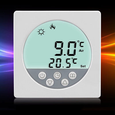 LCD Digital Heating Thermostat Room Temperature White Backlit Controller E0