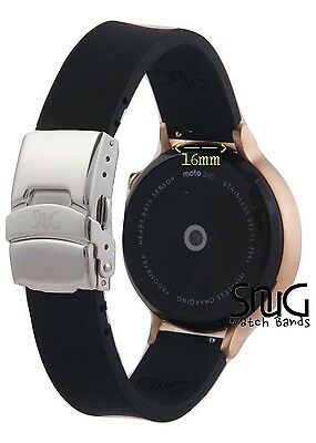 Women's Moto360 SnuG silicone Watchband 16mm Black (2nd Gen) + FREE PINK band!