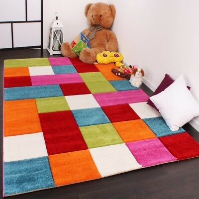 Green Red Blue Cream Pink Children Rug Kids Carpet Checked Design Modern Nursery