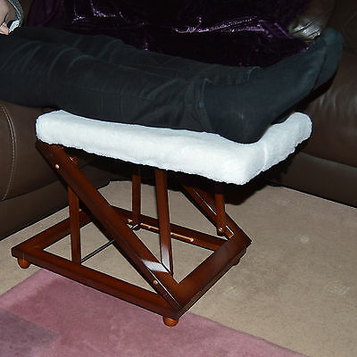 Height Adjustable Wooden Padded Foot Stool