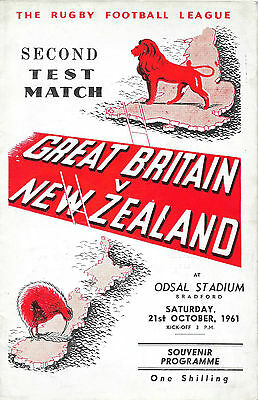 1961 - Great Britain v New Zealand, Second Test Match Programme.