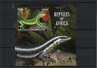 Ghana 2013 MNH Reptiles of Africa I 1v S/S Lizards Yellow Throated Day Gecko