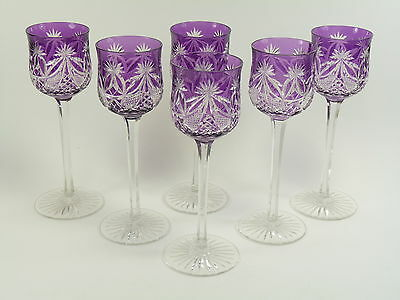 ST LOUIS Crystal - Art DECO Cut - Coloured Hock Glasses - Amethyst Set of 6