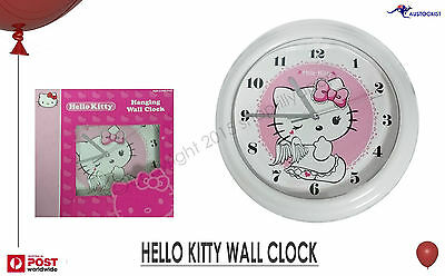 "Hello Kitty Bensons Wall Clock Licensed 25cm 10"" Pink & White Graphic BNIB Cute"