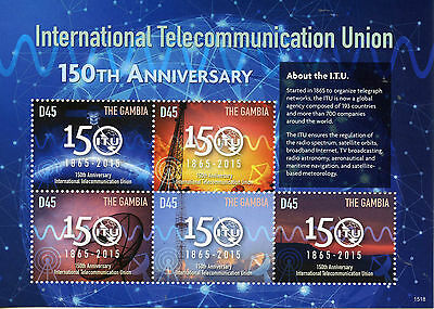 Gambia 2015 MNH International Telecommunication Union ITU 150th 5v M/S Stamps