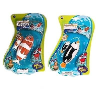 Penguin & Clown Fish Mother & Baby Subbies Set Pool or Bath Tub Toy