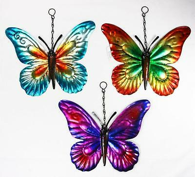 Set Of 3 Metallic Butterfly Garden Hanging Wall Ornaments Metal Butterflies Spin
