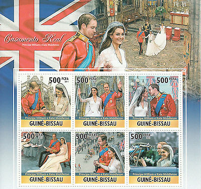 Guinea-Bissau 2011 MNH Royal Wedding 6v M/S Kate Middleton Prince William