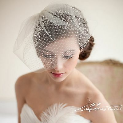 Bridal wedding birdcage white Fascinator Head piece veil 2 tier with comb