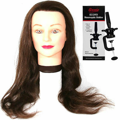 """100% Human Hair Salon Practice Training Head (23-26"""") with Mannequin Clamp"""