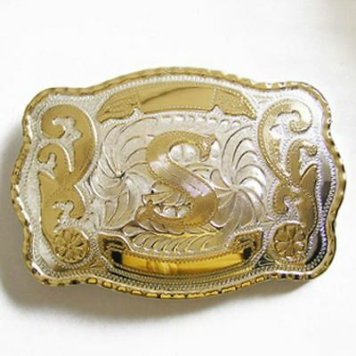 "Initial ""S"" Letter Large Gold & Silver Rodeo Western Cowboy Metal Belt Buckle"