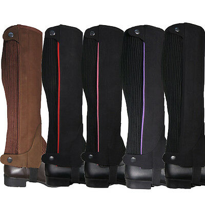 Adults Equestrian Riding Suede Jumping Showing Stretch Gaiters Half Chaps S-Xxl