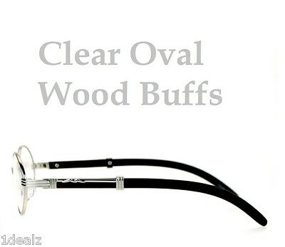 New Oval Wood Buffs Unisex clear glasses Oval UV400 Lenses and Silver frame