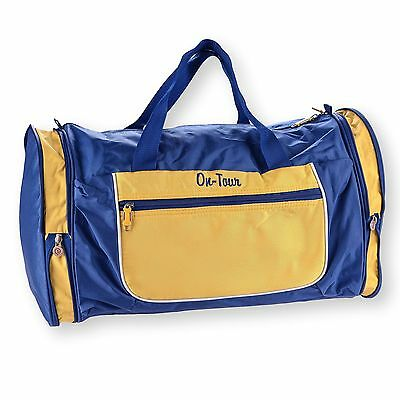 Expandable Gym Sports Bag Carry On Travel Sports Duffel Luggage Blue Yellow NEW