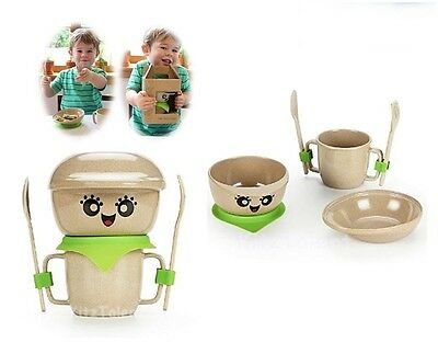 Baby Kids Bowl Cup Dish Set Nursery Food Feeding Toddler Plate Spoon Cute Gift