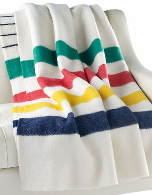 Authentic HBC Hudson's Bay Company Wool Point Blanket Multi Stripe Queen 6 point