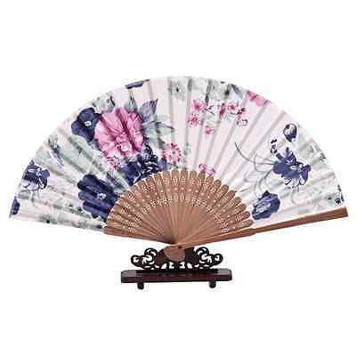 Handmade Chinese Flower Folding Bamboo Hand Fan Wedding Party Gift Cosplay ladys
