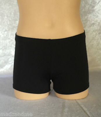 Black Lycra Shorts - Girl Sizes - dance, gymnastics, cheer, active wear