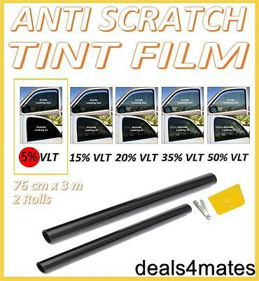 PRO QUALITY LIMO BLACK 5% CAR WINDOW TINT ROLL 6M x 76CM FILM TINTING