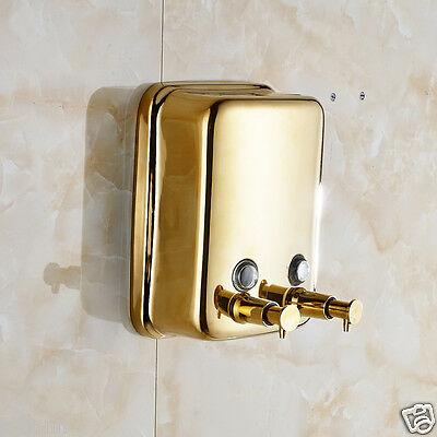 Free Shipping Gold Finished Wall Mounted 1000ml Bathroom Liquid Soap Dispenser