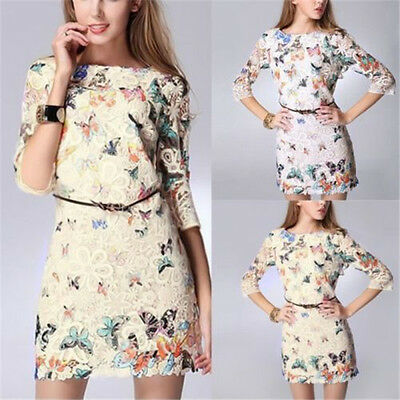 Fashion Women's Summer Sexy Butterfly Lace Casual Short Evening Party Mini Dress