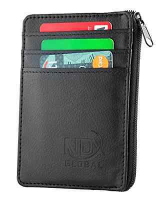 New RFID Blocking Men's Leather Wallet Credit Card Slots ID Card Window & Coin