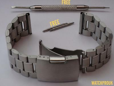 Quality Stainless Steel Deployment Strap Solid Band Dive+Bars+Tool 18 20 22 24Mm